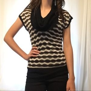 Bebe Cowl Neck Patterned Knit Top